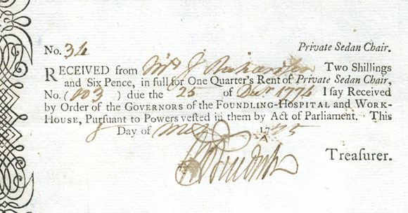 Sedan Chair Licence 1774. Image courtesy of Dublin City Library and Archive.