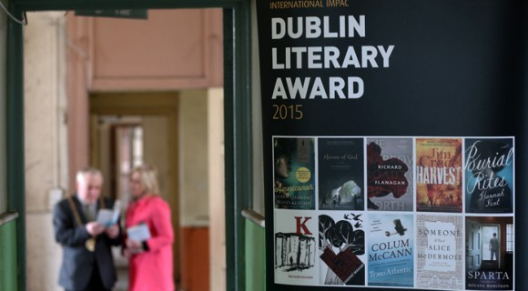 Monday 13th April 2015: Dublin City Council have announced the shortlist for this year's 20th International IMPAC DUBLIN Literary Award. Lord Mayor Christy Burke and City Librarian Margaret Hayes are pictured with the 10 short-listed titles at Coláiste Mhúire,on Parnell Square, the location of the future Central City Library. Irish author Colum McCann's TransAtlantic joins three novels in translation and books from Australia, Nigeria, the UK and US on this year's shortlist. The winning book will be announced on 17th June. #impacdub20. Picture Jason Clarke Photography