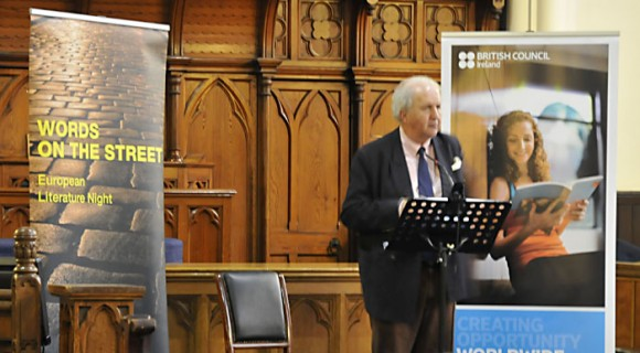 Alexander McCall Smith reading at Words on the Street at Abbey Presbyterian Church, 20 May 2015. Image copyright Dublin City Public Libraries